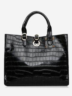 PU Leather Embossing Handbag Set - Black