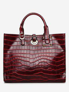 PU Leather Embossing Handbag Set - Wine Red