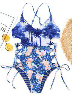 Side Lace Up Tropical One Piece Swimwear - Blue L