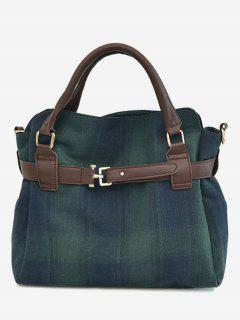 Plaid Buckle Strap Tote Bag - Green