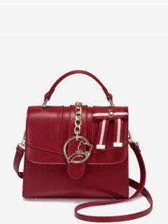 Chain Metal Detailed Striped Handbag - Deep Red