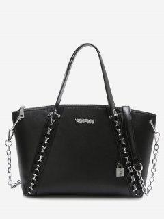 Letter Embellished Chain Faux Leather Shoulder Bag - Black