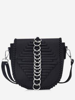 Metal Ring Whipstich Crossbody Bag - Black