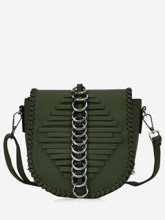 Metal Ring Whipstich Crossbody Bag - Green