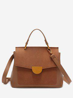 Metal Embellished PU Leather Crossbody Bag - Brown