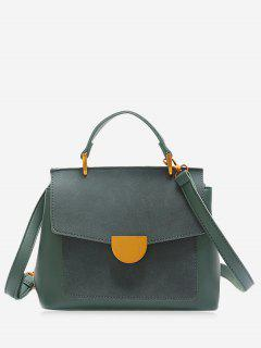 Metal Embellished PU Leather Crossbody Bag - Green