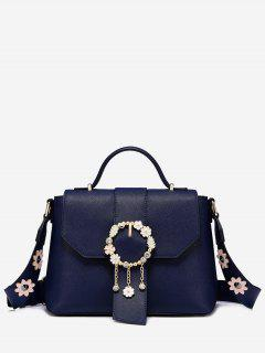 Flower Embellished Buckle Strap Crossbody Bag - Blue