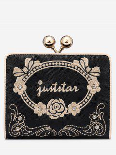 Metal Embroidery Rhinestone Wallet - Black