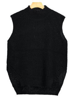 Chunky High Low Sweater Vest - Black