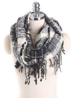 Plaid Tassel Ring Scarf - Black Grey