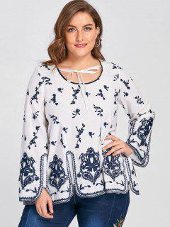 Plus Size Embroidery Bohemian Blouse - White 3xl