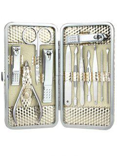 12 Pieces Stainless Steel Nail Clipper Set With Box - White Golden