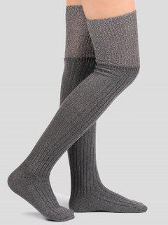 Plain Ribbed Knitted Stockings - Gray