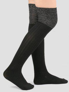 Plain Ribbed Knitted Stockings - Black