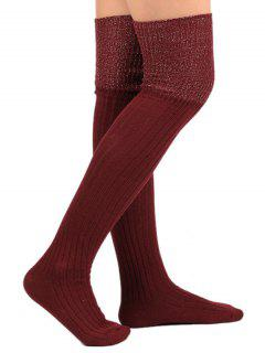 Plain Ribbed Knitted Stockings - Wine Red