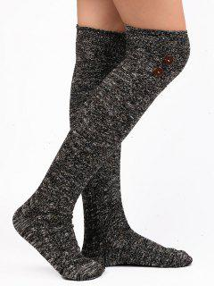 Button Embellished Knitted Stockings - Black