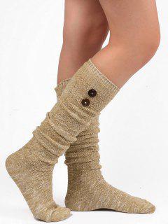 Button Embellished Knitted Stockings - Light Khaki