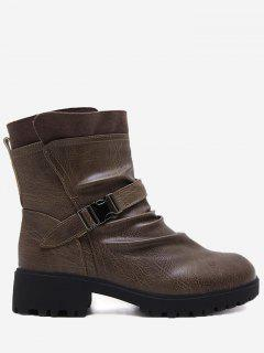 Buckle Strap Ruched Ankle Boots - Brown 36