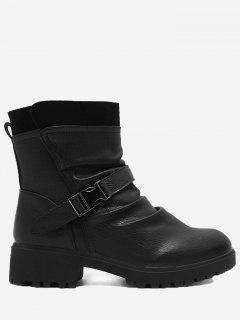 Buckle Strap Ruched Ankle Boots - Black 36