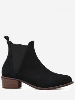 Block Heel Faux Suede Ankle Boots - Black 40