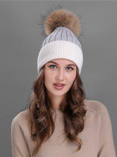 Fuzzy Ball Embellished Slouchy Beanie - Grey And White