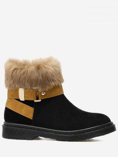 Stacked Heel Faux Fur Ankle Boots - Black 39