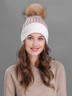 Fuzzy Ball Embellished Slouchy Beanie - Pink