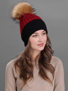 Fuzzy Ball Embellished Slouchy Beanie - Red