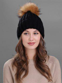 Outdoor Fur Pom Ball Knitting Beanie - Black