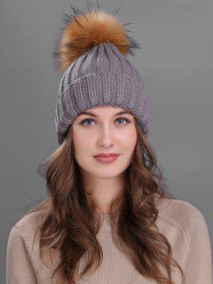 Outdoor Fur Pom Ball Knitting Beanie - Gray