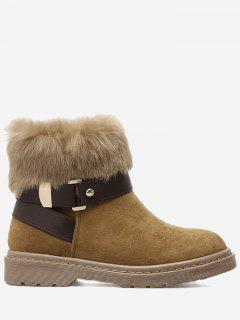 Stacked Heel Faux Fur Ankle Boots - Brown 36
