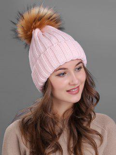 Outdoor Fur Pom Ball Knitting Beanie - Pink