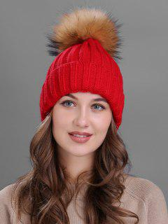 Outdoor Fur Pom Ball Knitting Beanie - Red