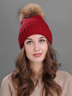 Fuzzy Ball Embellished Flanging Knitted Beanie - Burgundy