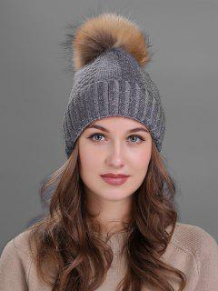 Fuzzy Ball Embellished Flanging Knitted Beanie - Deep Gray