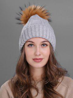 Fuzzy Ball Embellished Flanging Knitted Beanie - Light Gray