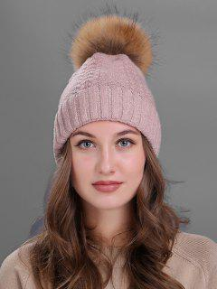 Fuzzy Ball Embellished Flanging Knitted Beanie - Pink