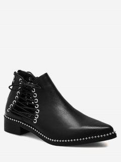 Pointed Toe Hollow Out Rivets Boots - Black 37/6.5