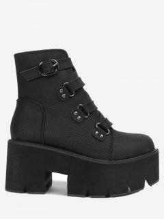 Platform Buckle Strap Ankle Boots - Black 37