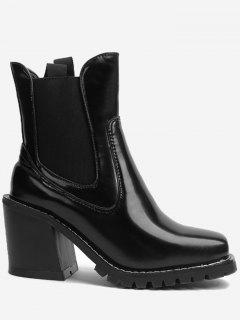 Chunky Heel Elasticized Panels Ankle Boots - Black 35