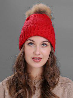 Fuzzy Ball Embellished Flanging Knitted Beanie - Red