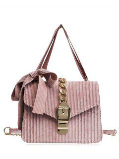 Buckle Strap Bow Chain Crossbody Bag - Pink