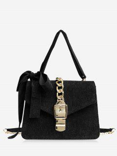Buckle Strap Bow Chain Crossbody Bag - Black