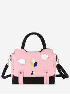 Patchwork Color Block Rivets Crossbody Bag - Pink