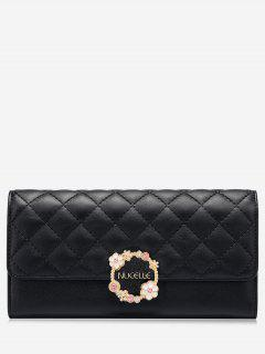 Quilted Flower Wallet - Black
