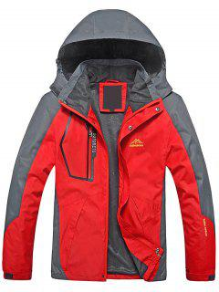 Color Block Zipper Windjacke - Rot L