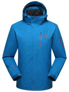 Hooded Polar Fleece Lining Wind Jacket - Blue Xl