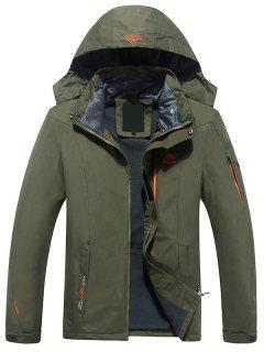 Hooded Polar Fleece Lining Wind Jacket - Army Green 2xl