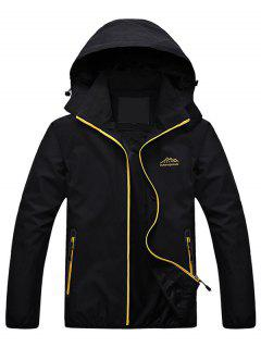 Zippered Hooded Wind Jacket - Black Xl