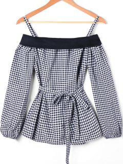 Plaid Spaghetti Stap Blouse With Belt - Checked 2xl